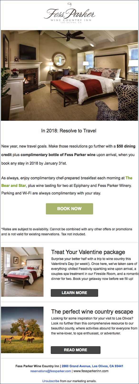 Fess Parker high-value package email marketing campaign