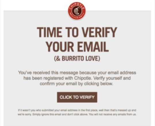 chipotle email example: hotel gdpr