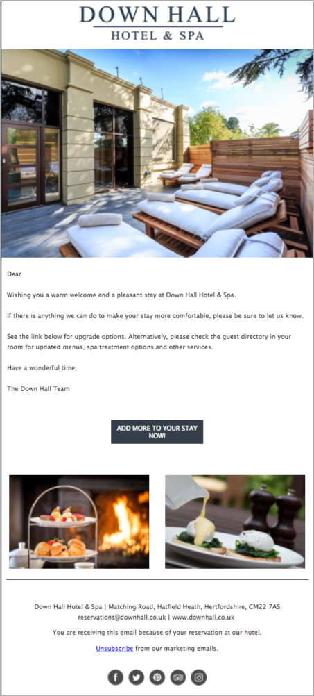 guest communication: down hall hotels & spa email campaign