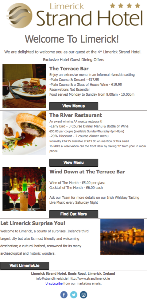 guest communication: Limerick Strand Hotel email campaign