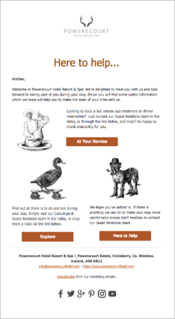 guest communication: Powerscout Hotel email campaign