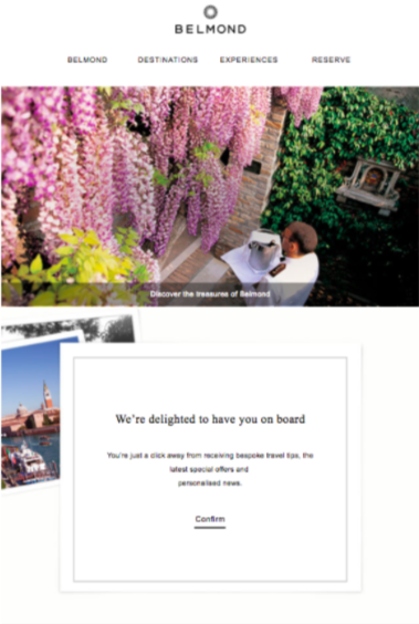 belmond email example: hotel gdpr