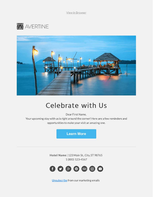 hotel email templates: Birthday email campaign template