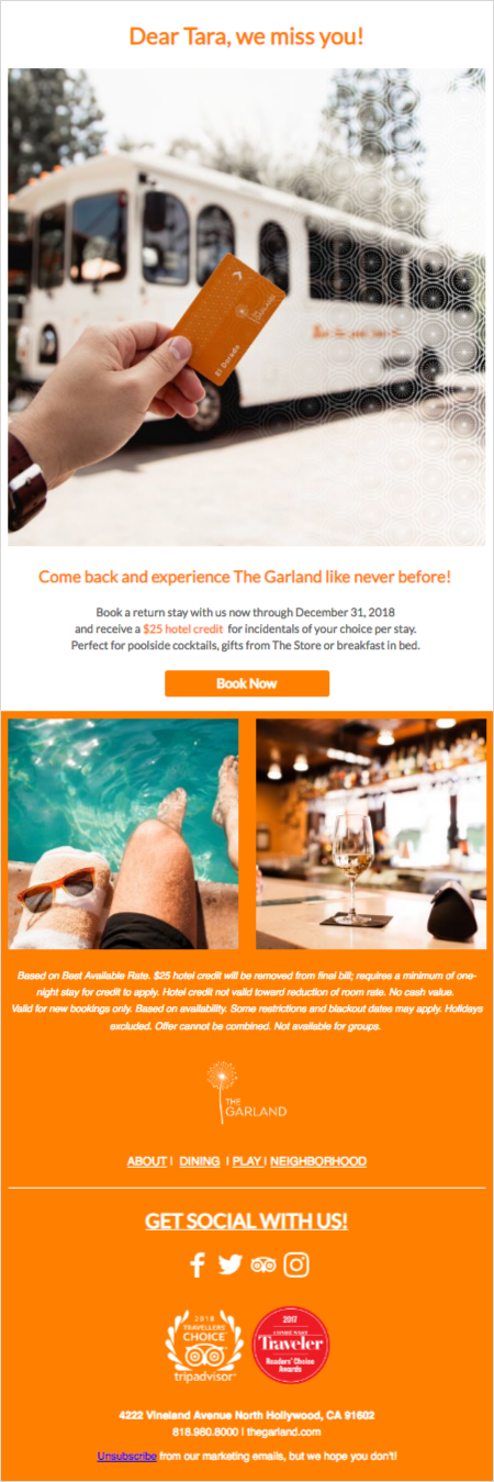 Hotel guest journey: The Garland we miss you email campaign
